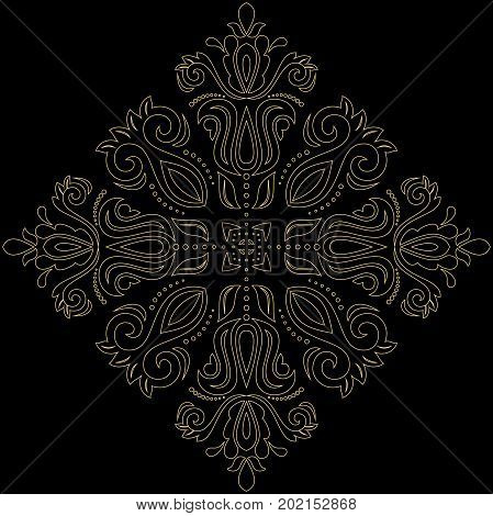 Oriental vector pattern with arabesques and floral golden elements. Traditional classic ornament. Vintage pattern with arabesques