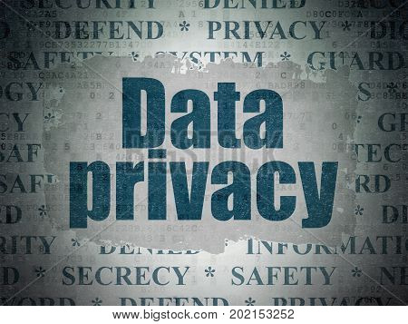 Privacy concept: Painted blue text Data Privacy on Digital Data Paper background with   Tag Cloud