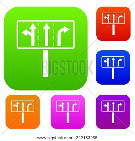 Traffic lanes at crossroads junction set icon in different colors isolated vector illustration. Premium collection