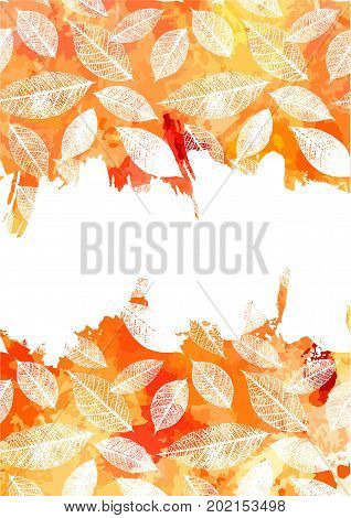 An autumn vector and watercolor background texture with yellow and white brush strokes and leaves silhouettes. An abstract fall frame or A5, A4, or like invitation or card design with a place for text