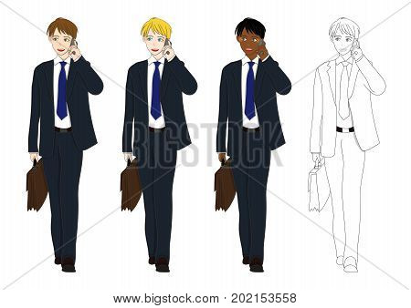 Set Handsome Business Man Talking on Phone and holding a Brief Case while Walking. Full Body Vector Illustration. isolated on White Background