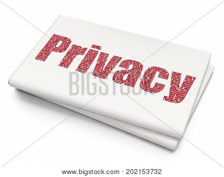 Privacy concept: Pixelated red text Privacy on Blank Newspaper background, 3D rendering
