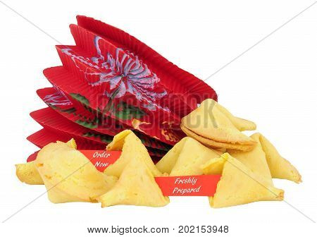 Fortune cookies with order now and freshly prepared message isolated on a white background
