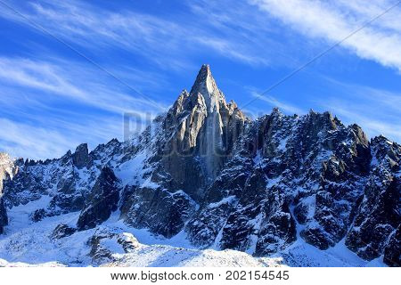 Aiguille du Dru in the Montblanc massif, French Alps.