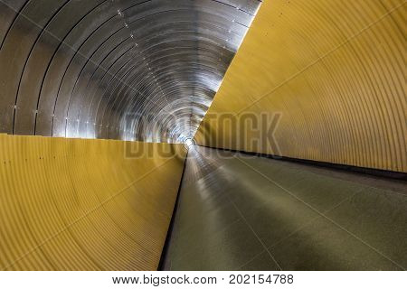 Underground pedestrian tunnel. Twisted perspective with modern design horizontal composition.