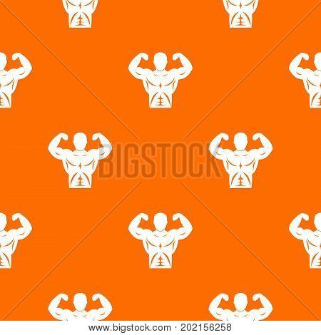 Athletic man torso pattern repeat seamless in orange color for any design. Vector geometric illustration