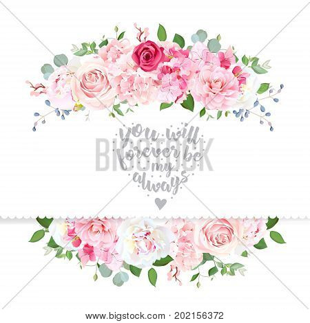 Delicate wedding floral vector design card. Beautiful spring bouquet. Peony, pink and red rose, hydrangea, camellia, eucalyptus, blue berry. Colorful objects set.All elements are isolated and editable