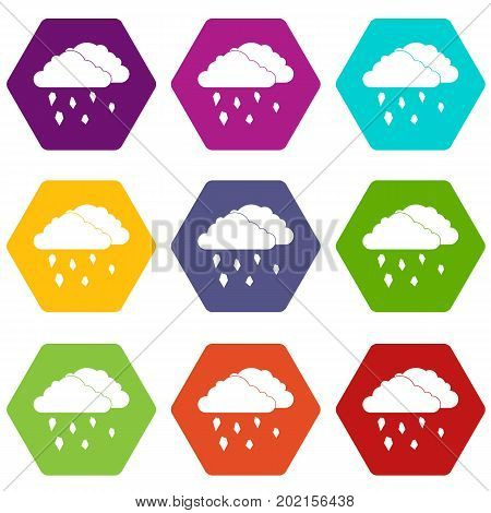 Clouds and hail icon set many color hexahedron isolated on white vector illustration