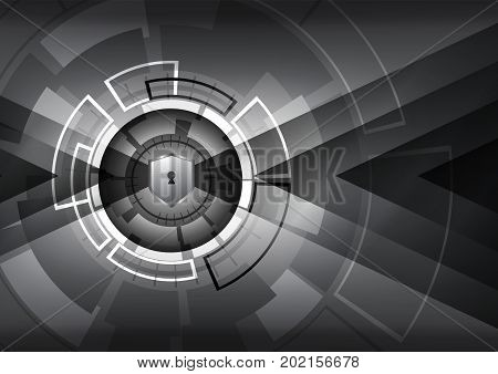 Cyber Security Concept Vector Illustration. Shield With Keyhole On  Technology Circle  Background.