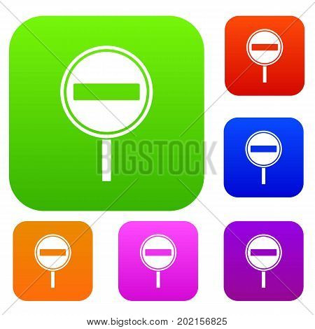 No entry sign set icon in different colors isolated vector illustration. Premium collection