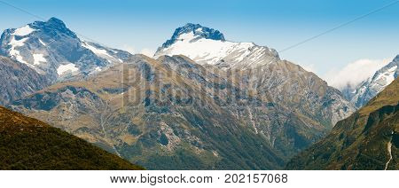 Beautiful Snowy Mountain Peaks South Island Of Nz