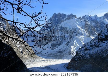 The Panoramic Mer de Glace in the Alps, close to Chamonix.