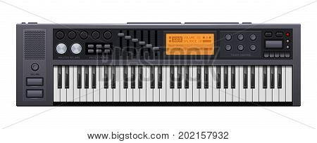 Music Synthesizer. Realistic Style Electronic Piano. Vector illustration