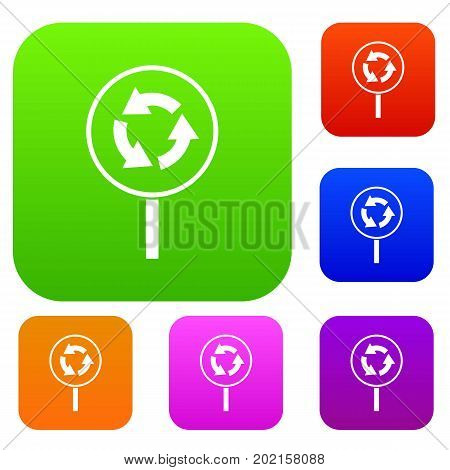 Circular motion road sign set icon in different colors isolated vector illustration. Premium collection