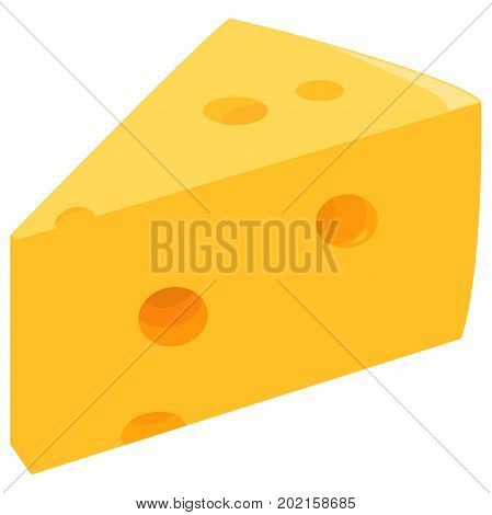 A Slice of Swiss cheese. Vector illustration