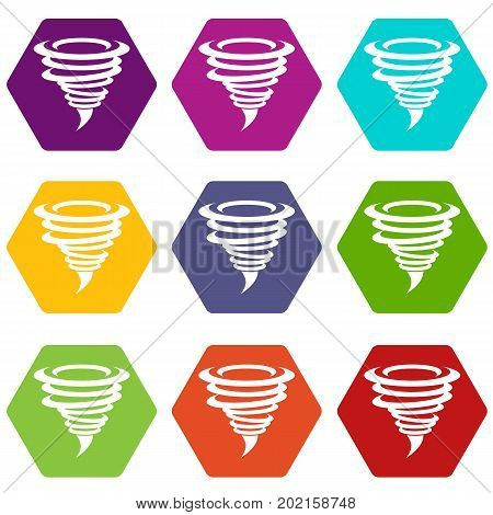 Tornado icon set many color hexahedron isolated on white vector illustration