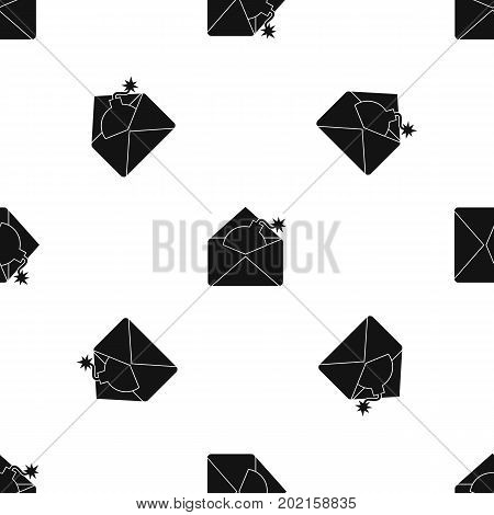 Envelope with bomb pattern repeat seamless in black color for any design. Vector geometric illustration