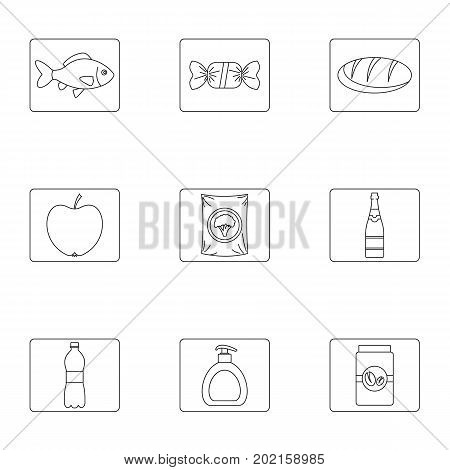 Dish icons set. Outline illustration of 9 dish vector icons for web design
