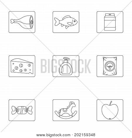 Meal icons set. Outline illustration of 9 meal vector icons for web design
