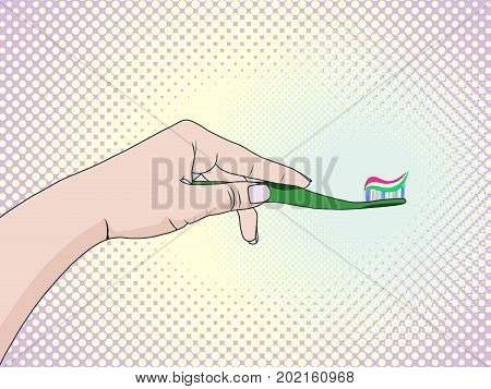 Hands of a woman squeezing toothpaste on a toothbrushe. Caring for oral cavity pop art retro style. Personal morning hygiene