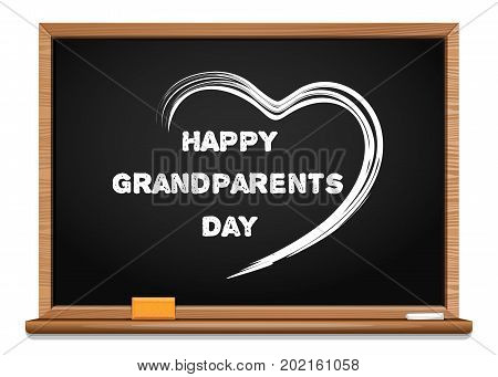 Happy Grandparents Day chalkboard. Congratulatory inscription written in chalk on a blackboard. Chalk text and heart on a wooden blackboard. National Grandparents Day card. Vector Illustration