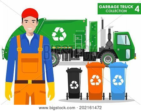Detailed illustration of garbage man garbage truck and different types of dumpsters on white background in flat style.