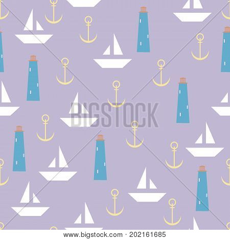 Nautical seamless pattern with lighthouse sailing boats and anchors.Travel sea and ocean. Vector Illustration