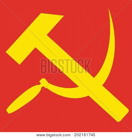 Hammer and sickle. Sign of communism and USSR. Vector illustration
