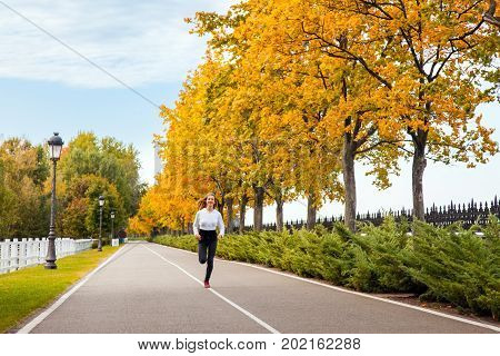 Woman Running In Autumn Forest. Young Adult Girl Jogging In Fall Colors