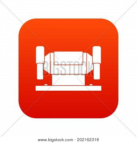 Metalworking machine icon digital red for any design isolated on white vector illustration