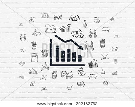 Business concept: Painted black Decline Graph icon on White Brick wall background with  Hand Drawn Business Icons
