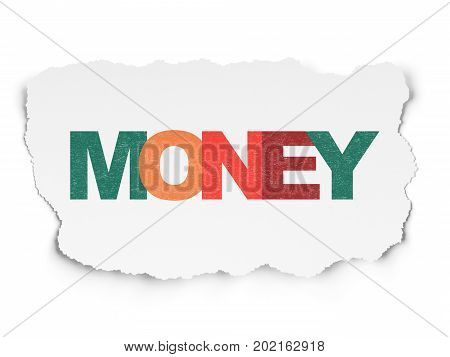 Business concept: Painted multicolor text Money on Torn Paper background