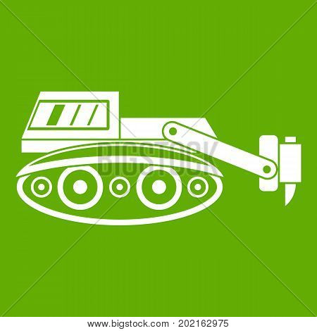 Excavator with hydraulic hammer icon white isolated on green background. Vector illustration