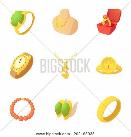 Jewelry store icons set. Cartoon set of 9 jewelry store vector icons for web isolated on white background