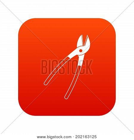 Metal shears icon digital red for any design isolated on white vector illustration