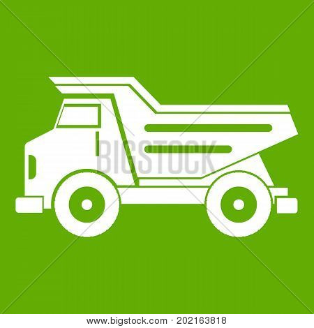 Dump truck icon white isolated on green background. Vector illustration