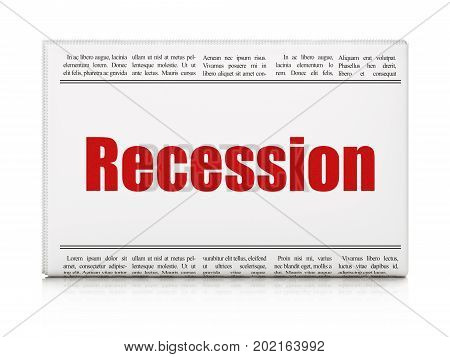 Business concept: newspaper headline Recession on White background, 3D rendering