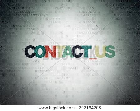Business concept: Painted multicolor text Contact us on Digital Data Paper background