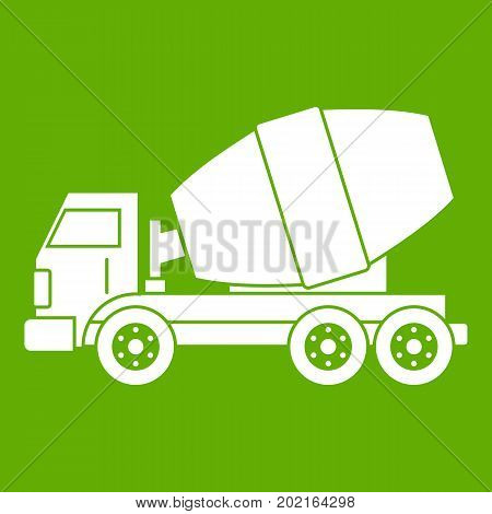 Truck concrete mixer icon white isolated on green background. Vector illustration