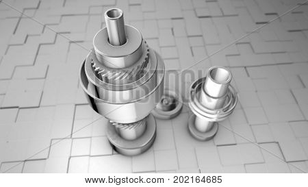 Abstract industrial steel gear mechanism. Fantasy photo realistic technology and engineering background. Depth of field settings. 3D rendering.