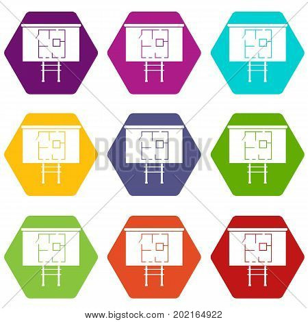 Project of house on a board icon set many color hexahedron isolated on white vector illustration