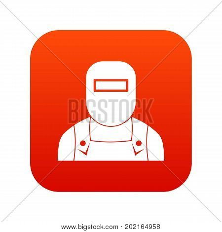 Welder icon digital red for any design isolated on white vector illustration