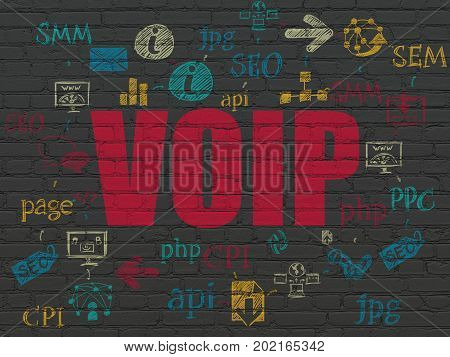 Web development concept: Painted red text VOIP on Black Brick wall background with Scheme Of Hand Drawn Site Development Icons