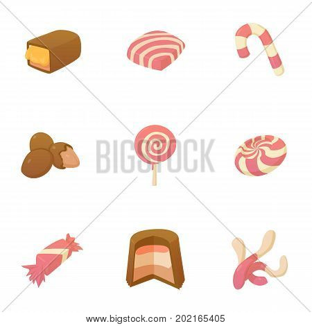 Pink candy icons set. Cartoon set of 9 pink candy vector icons for web isolated on white background
