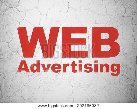 Marketing concept: Red WEB Advertising on textured concrete wall background