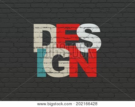 Advertising concept: Painted multicolor text Design on Black Brick wall background