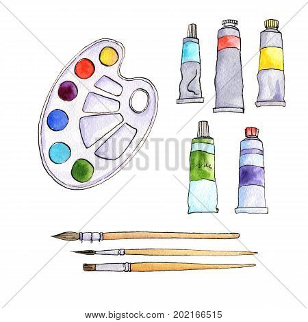 art materials, line drawing set of  bristle and synthetic brushes for painting and calligraphy and paint tubes, hand drawn watercolor illustration poster