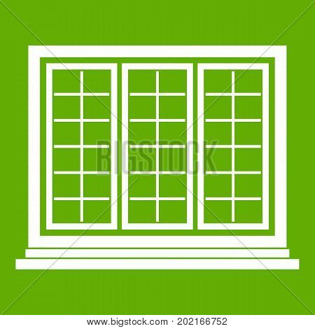 Wooden tricuspid window icon white isolated on green background. Vector illustration