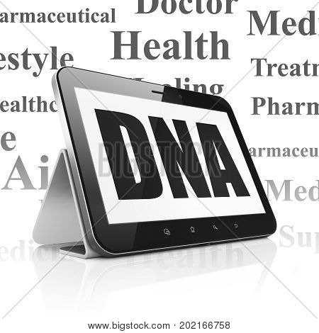 Healthcare concept: Tablet Computer with  black text DNA on display,  Tag Cloud background, 3D rendering