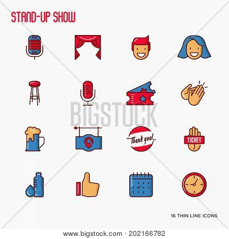 Stand up comedy show thin line icons set. Vector illustration.